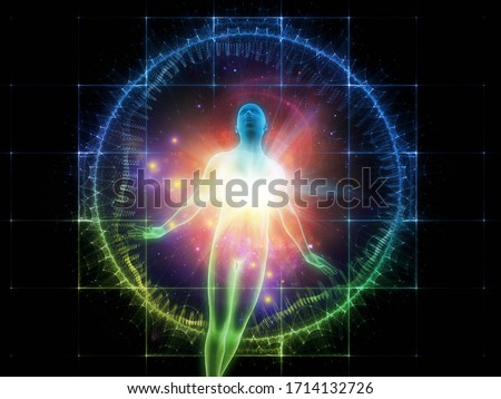Light Within series. 3D rendering of human figure, radiating light and fractal elements on the subject of inner energy, astral dimension and spirituality. Stock photo ©