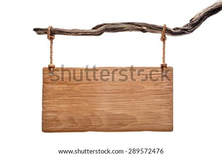 light wood rustic signboard on...