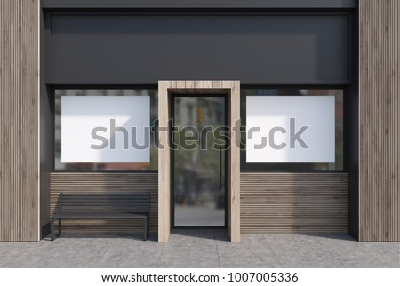 Light wooden and dark gray cafe facade with two horizontal posters and a glass door. A bench. 3d rendering mock up #1007005336
