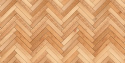 Light wooden boards texture background. Brown seamless parquet floor with herringbone pattern made of narrow planks.