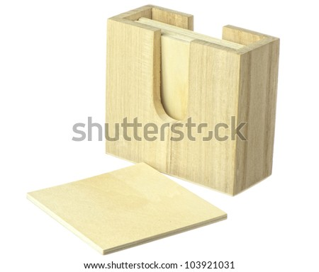 light wooden coasters on white background