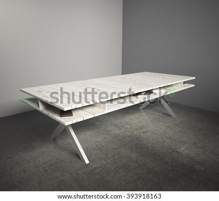 Light wooden table in an empty grey room. 3D Render