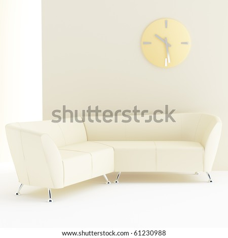 light yellow interior with sofa and clock on wall