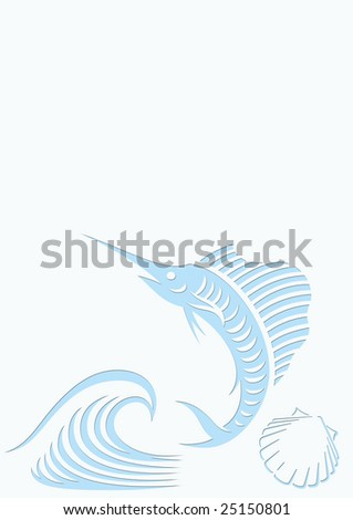 lightblue background with a blue sailfish, a blue wave and a blue mussel. Designed for content to be added