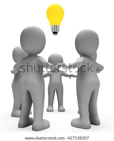 Lightbulb Characters Meaning Team Work And Thoughts 3d Rendering