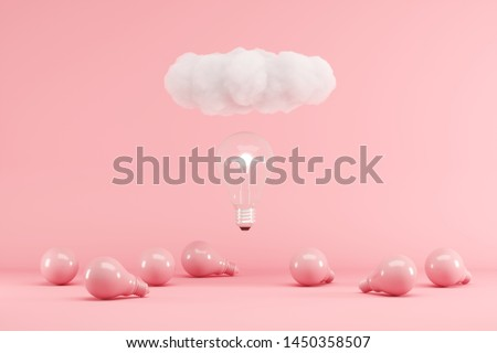Lightbulb floating with cloud above pink lightbulbs on pink background. minimal creative idea concept. 3D render.