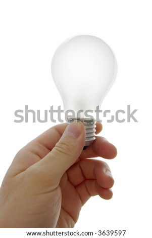 Lightbulb in a human hand isolatod on white