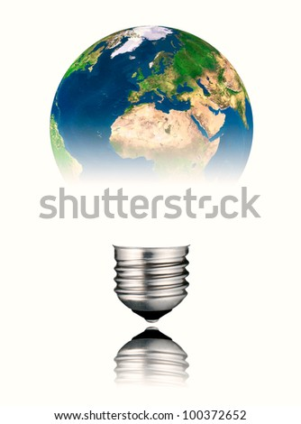 Lightbulb in the Shape of the  World - Europe, Africa and Asia. Screw Round Bulb with Reflection Isolated on White Background