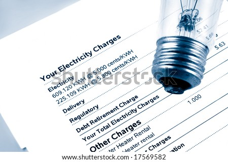 lightbulb on electricity bill stating wattage and monthly charges in blue tone