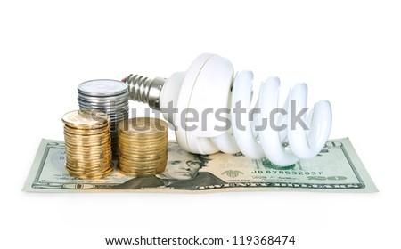 lightbulb on money dollars background