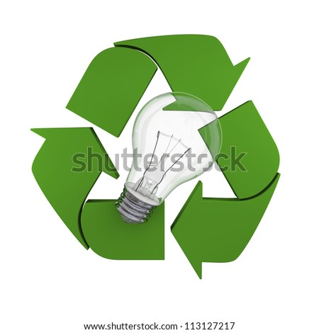 Lightbulb on recycling symbol, concept of new ideas in environmental protection and conservation