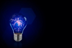 Lightbulb symbol of smart creative technology idea abstract background concept with light and digital innovation to present professional think power consulting advice solution strategy