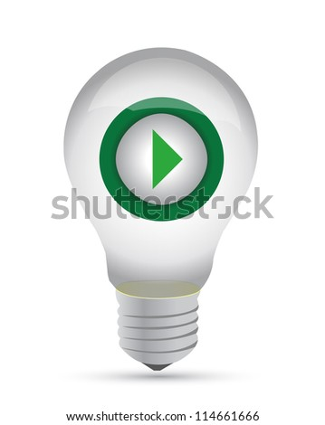 lightbulb with a play button inside - illustration design