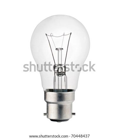 Lightbulb with Bayonet Fitting Isolated on White Background. Photo of Ordinary Lightbulb Over White - stock photo