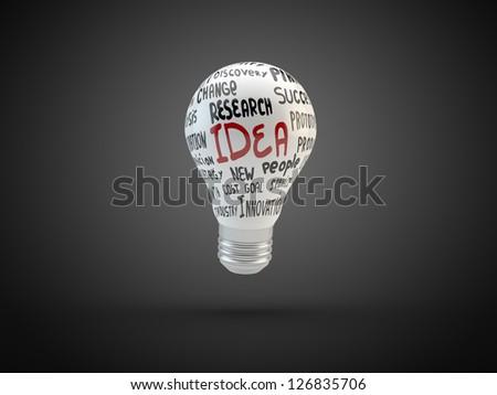 Lightbulb with business tags  isolated on black #126835706
