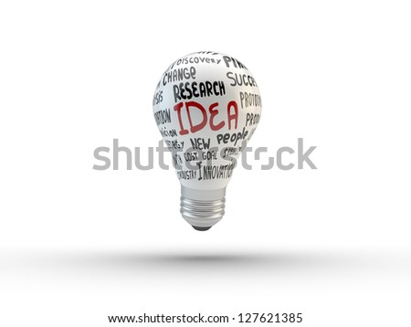 Lightbulb with business tags  isolated on white