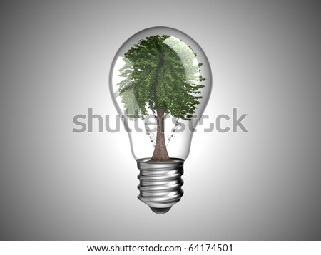 Lightbulb with green tree inside it. Environment and renewable energy. Over grey