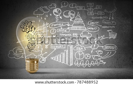 Lightbulb with multiple sketched gears inside placed against business-plan information drawn on grey wall. 3D rendering. #787488952