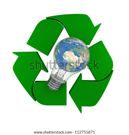 Lightbulb with planet Earth inside laying on recycling symbol, concept of new ideas in environmental protection and conservation. Elements of this image furnished by NASA