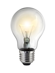lighted bulb isolated on white background