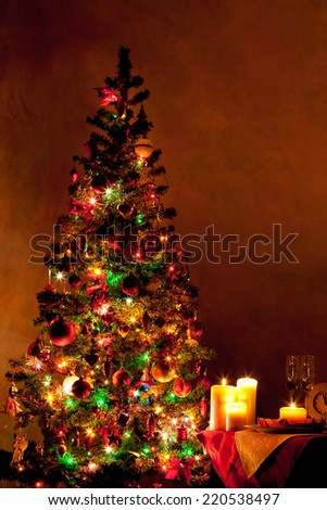 Lighted decorated Christmas tree in living room  #220538497