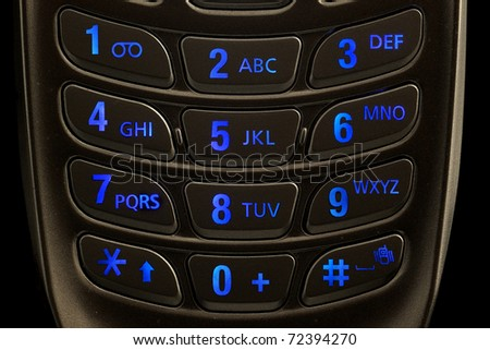 lighted dial of a cell phone keypad