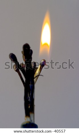 Lighted match, standing in line, but curiously bent out as though looking down the line