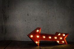 Lighted Red Marquee Arrow