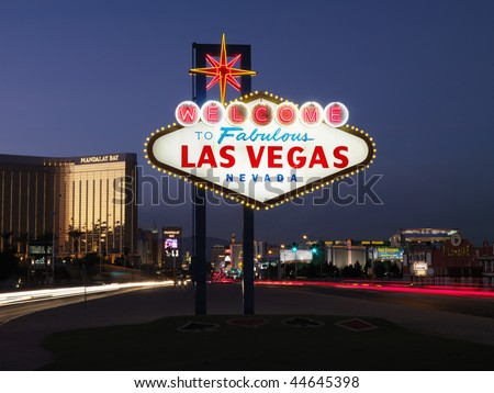 welcome to las vegas nevada sign. Las Vegas Nevada at dusk.