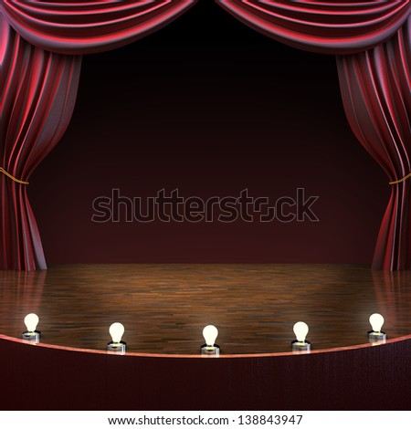 Lighted stage background, music,comedy or performing arts concept with room for text or copy space advertisement. Part of a stage concept series