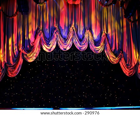 theater curtain clip art. stock photo : Lighted Theater
