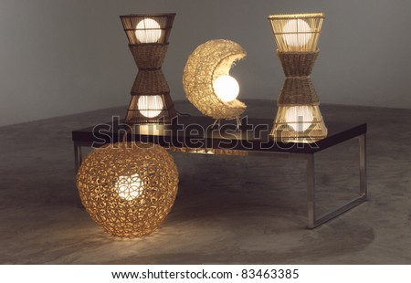 Lighten table lamps which made of rattan and bamboo