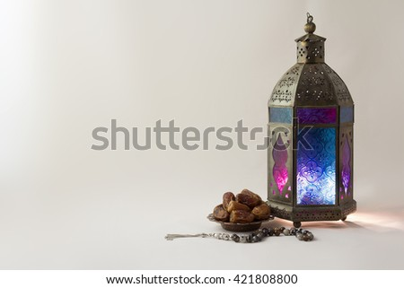 lightened Lantern with Date and Rosary