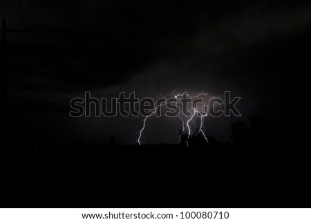 Lightening bolts strike the ground from the night sky.