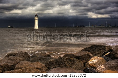 Lighthouse against a stormy sky HDR