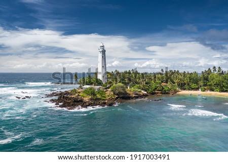 Lighthouse and beautiful beach landscape in Sri Lanka Foto stock ©