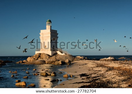 Lighthouse and birds. Shot near Langebaan/Vredenburg, Western Cape, South Africa.