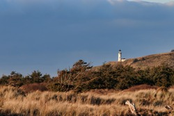 lighthouse and grass on dunes