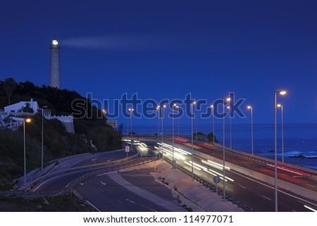 lighthouse and light trails in Mijas, Spain