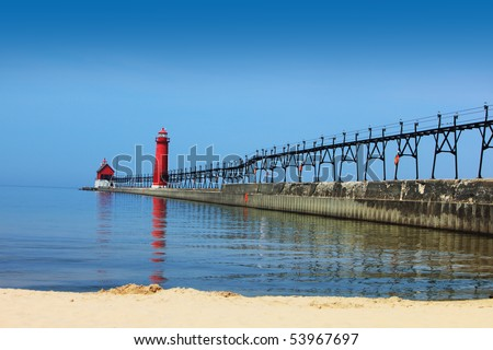 Lighthouse and Pier Grand Haven Michigan in the summer time