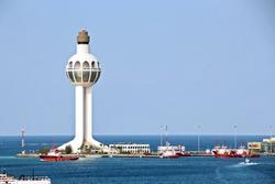 Lighthouse as a symbol of the port of Jeddah, Saudi Arabia. December,2018