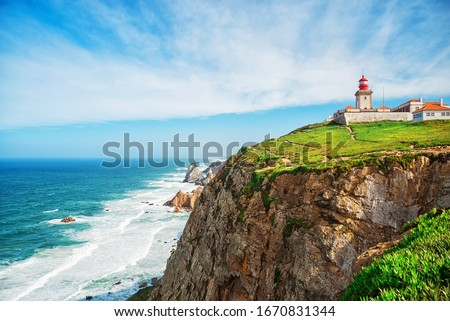 Lighthouse at Cabo da Roca in Portugal.  the westernmost point of europe Foto stock ©