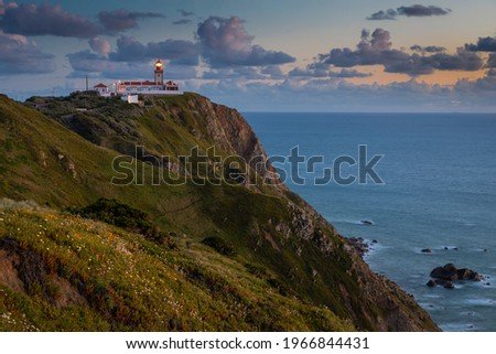 Lighthouse at Cape Cabo da Roca near the city of Cascais, Portugal. Cape Roca is the most western point of continental Europe. Foto stock ©