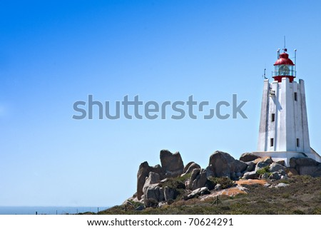 lighthouse at Cape Columbine on the west coast of South Africa the most powerful lighthouse in Southern Africa