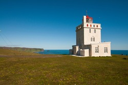 Lighthouse at Cape Dyrholaey in Iceland