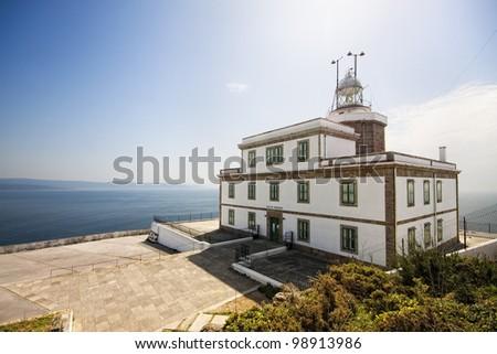 Lighthouse at Cape Finisterre in La Coruna, Spain