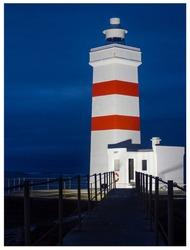 lighthouse at night gardur iceland