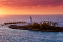 Lighthouse at sunset in the paradise island in Nassau, Bahamas.