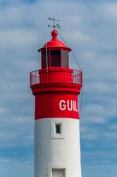 Lighthouse at the fishing port of Guilvinec, in Finistère, Brittany, France.