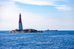 Lighthouse at the island Grip on the norwegian coast